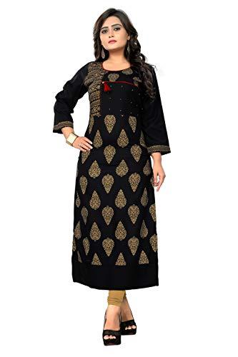 Delisa Women Dress Printed Kurti for Women Formal & Party Wear 183-8 (Black 183, ()