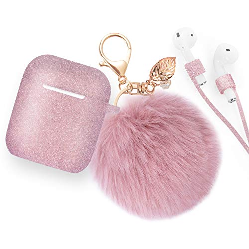 Airpods Case Keychain, BLUEWIND AirPod Charging Protective Case, Portable Carrying Earpods Case Strap, Keychain, Soft Fluffy Ball (Glitter Rose Gold)