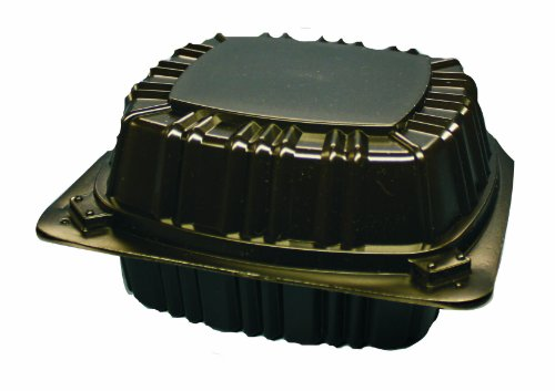 Choice-Pac L1H-1114-Blk Polypropylene Square Hot Clamshell Container with 2-Point Front Closure, 6