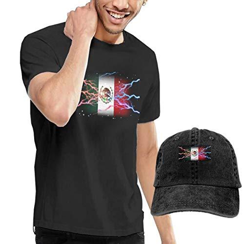 Novelty Baseball Hat & T-Shirt Bundle, Cotton T Shirt Solid Short Sleeve Tee Top T-Shirt Adjustable Cap Adult Black Tee Shirt Cool Lightning Eagle Mexico Flag