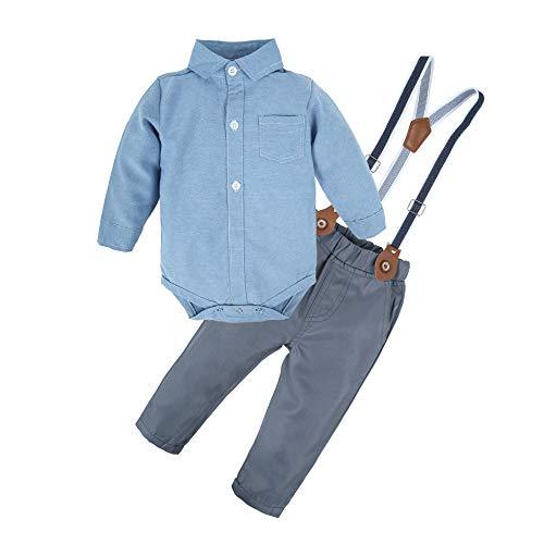 BIG ELEPHANT Baby Boys' 2 Pieces Long Sleeve Romper Suspender Pants Clothing Set with Bowtie U20 -
