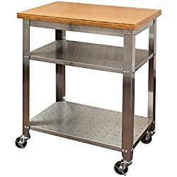 Seville Classics Stainless Steel Kitchen Cart with Bamboo Top