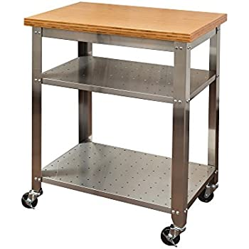 Superbe Seville Classics Stainless Steel Kitchen Cart With Bamboo Top