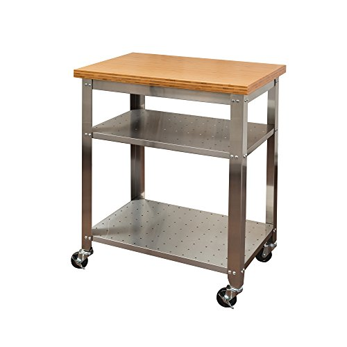 Seville Classics Stainless Steel Kitchen Cart with Bamboo Top (Kitchen Island Bamboo)