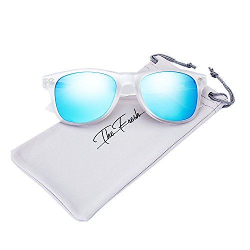 The Fresh Matte Frosted Frame Reflective Colored Mirror Lens Horn Rimmed Sunglasses with Gift Box (1-Frost, Blue Sky Mirror)