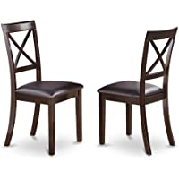 East West Furniture BOC-CAP-LC X-Back Chair Set for Dining Room with Faux Leather Seat, Set of 2