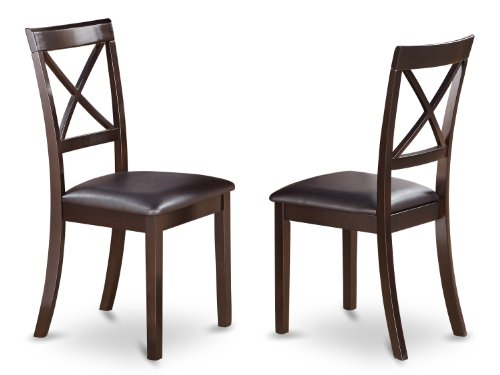 East West Furniture BOC-CAP-LC X-Back Chair Set for Dining Room with Faux Leather Seat, Set of 2 (Back Chair Set Dining)