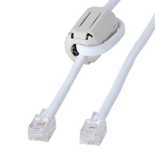 [해외]산와 서플라이 페라이트 코어를 갖춘 트위스트 모듈 케이블 백색 10m TEL-FC-10N / Twisted Modular Cable with Sunwa Supply Ferrite Core White 10m TEL-FC-10N