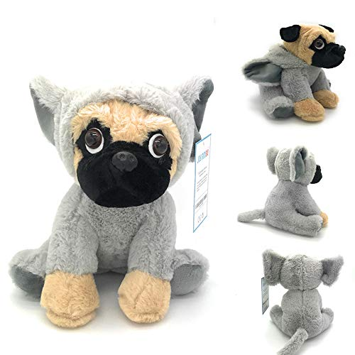 Joy Amigo Stuffed Pug Dog Puppy Soft Cuddly Animal Toy in Costumes - Super Cute Quality Teddy Plush 10 Inch (Elephant)