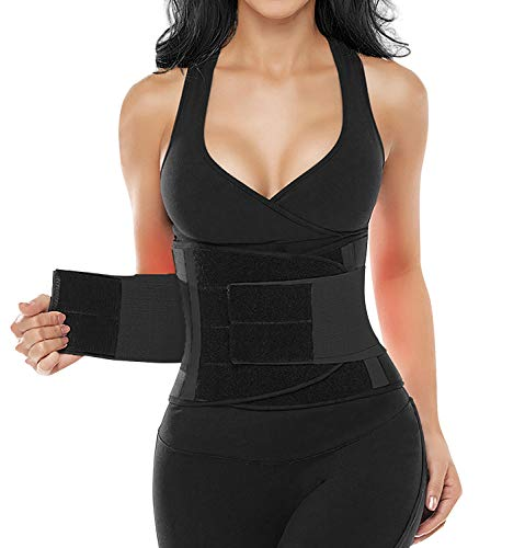 SHAPERX Women's Waist Trainer Belt Waist Training Corset Waist Cincher Slimming Body Shaper for an Hourglass Weight Loss Workout Gym Fitness Trimmer Slimmer Shaper, SZ8002-New-Black-M