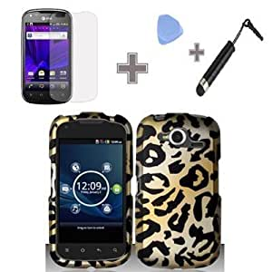 Bloutina Rubberized Yellow Gold Black Cheetah Leopard Snap on Design Case Hard Case Skin Cover Faceplate with Screen Protector...