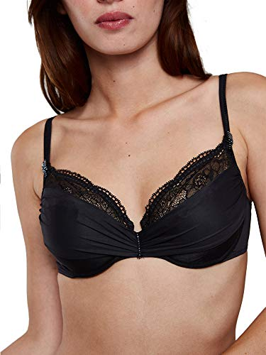 Maison Lejaby 8733-04 Women's Crystal Black with Lace Underwired Non-Padded Plunge Bra 08733-04 38D ()