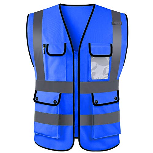 goowrom High Visibility Zipper Front Breathable Safety Vest with Reflective Strips Pockets Jacket Security Waistcoat for Men Women (Blue, XL)