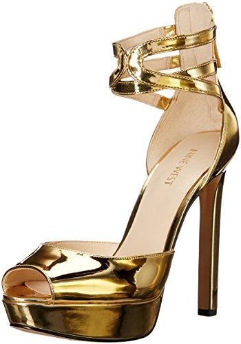 Nine West Women's Voretta Patent Platform Pump, Gold, 7 M US 41uKKP5vZcL