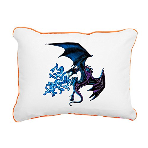 - Rectangular Canvas Throw Pillow Orange Blue Dragon with Lightning Flames