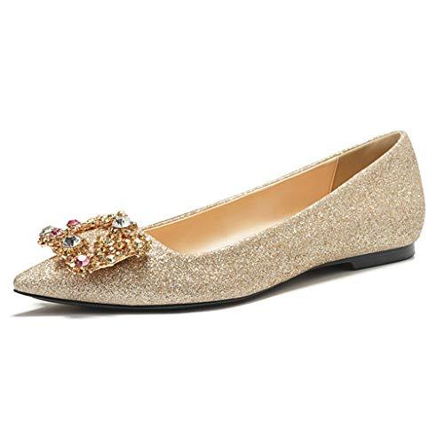 De De De De Mariée Chaussures D'honneur Chaussures Plat Regbking Mariage De Demoiselle Paillettes Bal Boucle Carrée Métallique Cristal Étincelant Ballet Danse xPxq0T7n