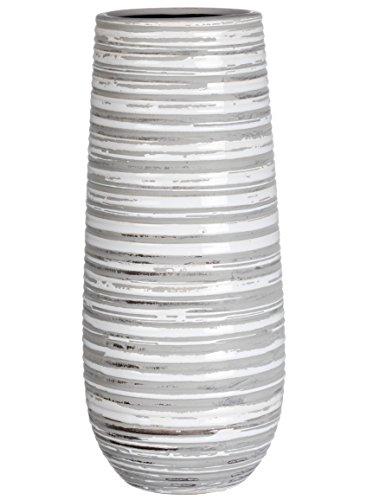 Sullivans Grey & White Striped Ceramic Vase