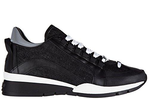 Dsquared2 Herrenschuhe Herren Leder Schuhe Sneakers 551 Schwarz