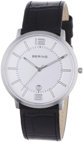 BERING Time 11139-000 Men's Classic Collection Watch with Leather Band and scratch resistant sapphire crystal. Designed in Denmark. 11139-000
