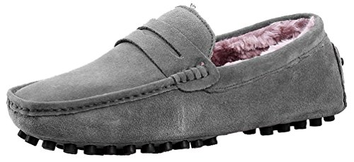 Abby 2088w Hombres Plus Wool Loafers Plano Elegante Casual Slip-on Mocasines Conducción Zapatillas Gris
