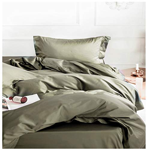 Solid Color Egyptian Cotton Duvet Cover Luxury Bedding Set High Thread Count Long Staple Sateen Weave Silky Soft Breathable Pima Quality Bed Linen (King, Olive)