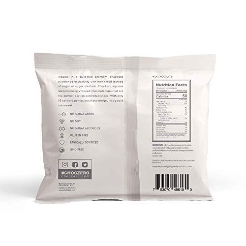 ChocZero Premium Milk Chocolate, 45% Cocoa, No Sugar Added, Low Carb. No Sugar Alcohol, All Natural, Non-GMO - (3 Bags, 30 Pieces)