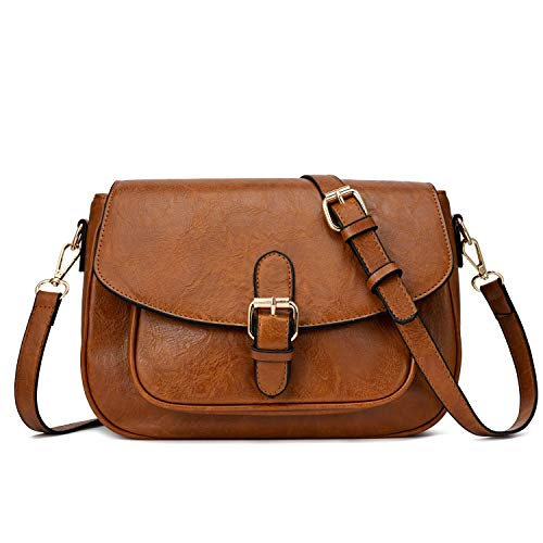 Small Purse Vintage Satchel for Women PU Leather Cover Hasp Crossbody Bag and Saddle Shoulder Bag with Long Adjustable Strap (Large Upgrade Brown)