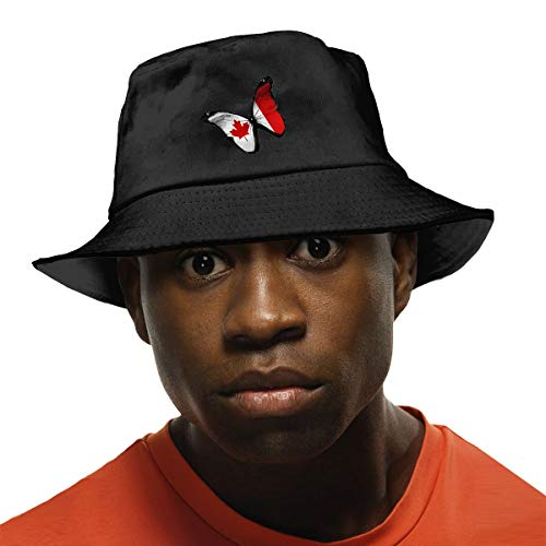 Butterfly Hat Bucket - Canada Flag Creative Butterfly Unisex Fisherman UV Protection Outdoor Hiking Fishing Bucket Hat Black