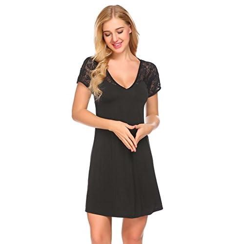 Wholesale etuoji Women Lace Nightshirt Short Sleeve Sleepshirt Backless Cross Nightgown free shipping