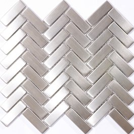 Susan Jablon Mosaics - 8mm Stainless Steel Tile Herringbone Mosaic