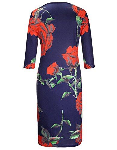 Junger Kurze Dress Sommer Ärmel Drucken Vintage Blau Damen Ihrkleid® Kleid Abendkleid