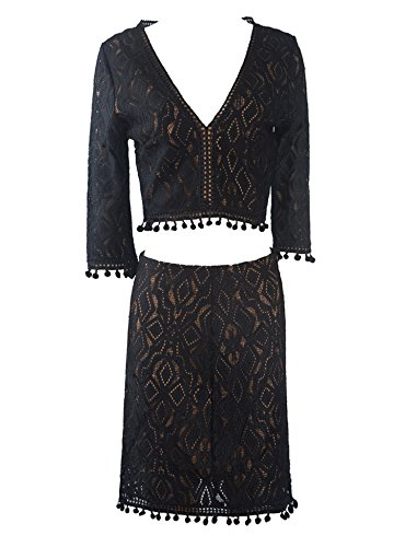Lace Blouse and skirt set/ sheer sleeves