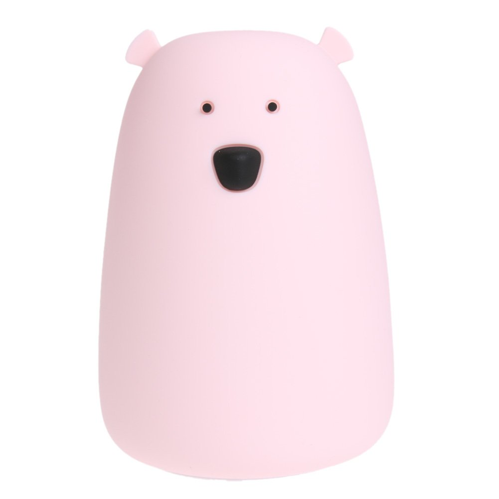 MKChung LED Night Light, USB Rechargeable White Bear Table lamp for Student Gift(Colorful Change)(Pink)