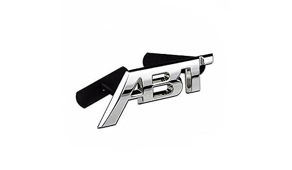 XiYon Cromo Plata Mate Brillante Brillante Negro ABT 3D Adhesivo Parte Trasera del Cuerpo del Coche Insignia Emblema Pegatinas Logotipo para Audi VW Negro Mate