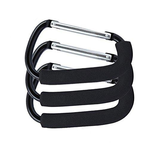 Gorse XLarge Carabiner Aluminum Stroller Hook,Stroller Hooks Set Hanger Organizer Accessories for Shopping Bags, Purses Black by Gorse