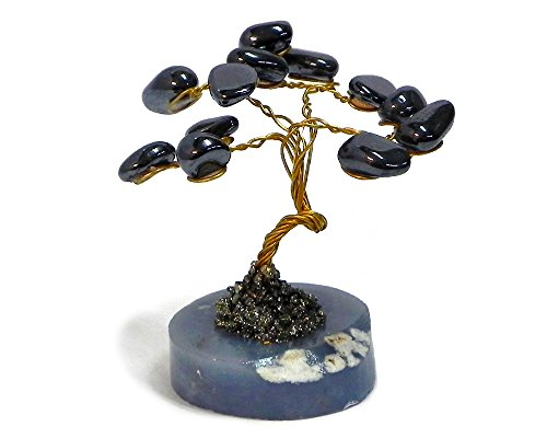Mia Jewel Shop Tree of Life Natural Healing Crystal Tumbled Gemstone Decorative Ornament Figurine Reiki Money Tree Feng Shui Office Room Home Décor (Silver Hematite) ()