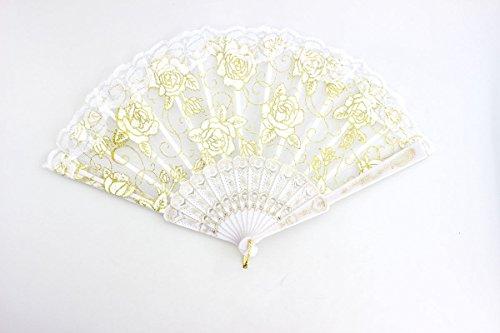 White Spanish Style Dance Wedding Party Lace Silk Folding Hand Held Flower Fan by HandFan