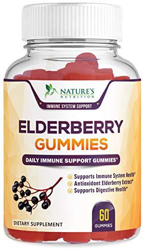 Elderberry Gummies Highest Potency Sambucus Gummy – Natural Immune System Support & Booster – Made in USA – Best Vegan Herbal Supplement with Vitamin C & Zinc for Children & Adults – 60 Gummies