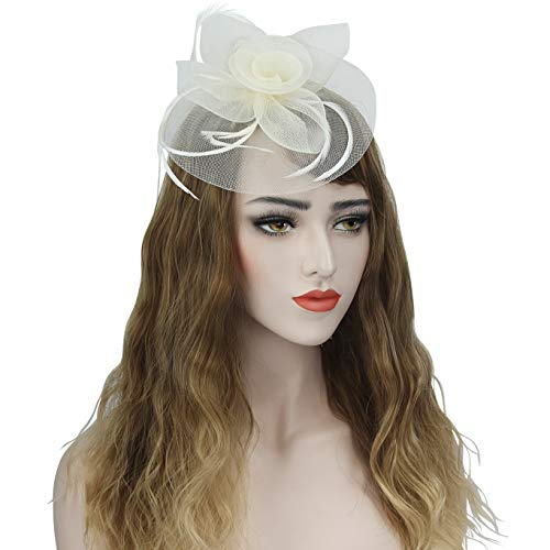 (Acecharming Fascinators for Women, Feather Sinamay Fascinators with Headbands Tea Party Pillbox Hat Flower Derby Hats(Beige Hat) )