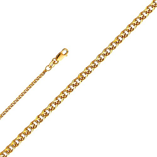 GoldenMine Fine Jewelry Collection 14k Yellow Gold 1.2mm Flat Open Wheat Chain Necklace - 16