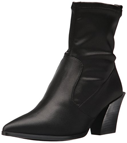 Womens Pointed Toe Boots - Nine West Women's Eshella Ankle Boot, Black Satin, 7.5 Medium US