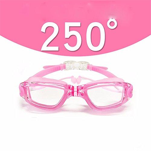 LXKMTYJ Lunettes de natation HD myopie imperméable brouillard hommes et femmes, rose 250 degrés