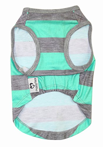 Product image of Puppy Face Pet Clothes Apparel Dog Shirts with Wide Light Green and Grey Strips for Small Extra Small Medium Large Extra Large Dog or Cat(XXS/XS/S/M/L/XL/XXL)
