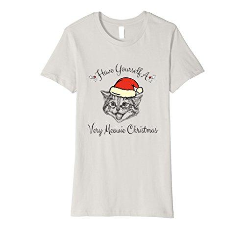 Womens Very Meowie Christmas Cat Premium Tee Shirt Reg. & Plus Size Small Silver (Meowie Christmas Cat)