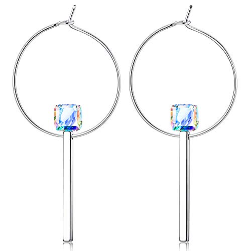 Sllaiss Geometric Dangle Earrings Made with Swarovski Crystals Bar Endless Hoop Drop Earrings Embellished Crystals Charms Jewelry