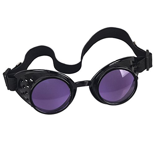 OMG_Shop Vintage Victorian Steampunk Welding Cyber Punk Gothic Cosplay HS Goggles Glass Black Frame (Purple - Steampunk Goggles Purple