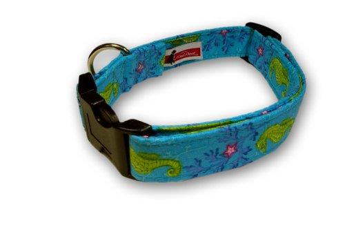 Elmos Closet Coral & Seahorses Dog Collar
