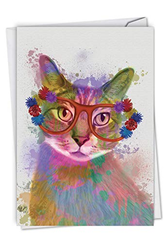 Funky Rainbow Cats: Birthday Greeting Card With an eyeglasses-wearing, colorful cat, with Envelope. C6199IBDG ()