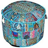 Indian Living Room Pouf, Foot Stool, Round Ottoman Cover Pouf,Traditional Handmade Decorative Patchwork Ottoman Cover,Indian Home Decor Cotton Cushion Ottoman Cover 13x18''By Traditional Indian