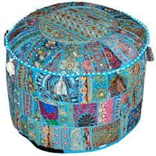 Good Indian Living Room Pouf, Foot Stool, Round Ottoman Cover Pouf,Traditional  Handmade Decorative Patchwork Ottoman Cover,Indian Home Decor Cotton  Cushion ...